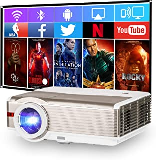 Wireless Smart LCD Projector with Bluetooth, 5000 Lumen Support Full HD 1080P LED Android OS Home Cinema Projector with St...