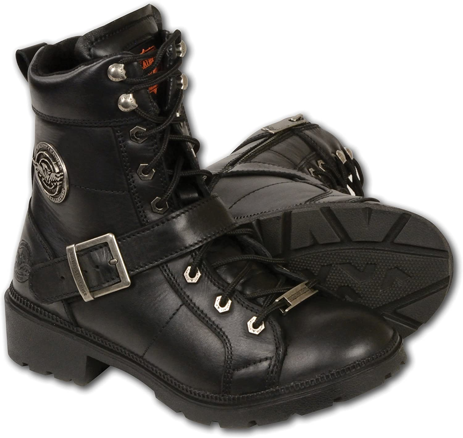 Milwaukee Women's Boots It is very popular with Lace and Front Closure Popular overseas Black Zip