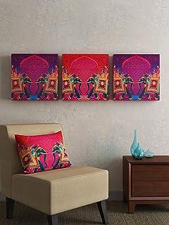 SEJ by Nisha Gupta Wood Framed Wall Art (14 x 14 x 1 inch, Orange)