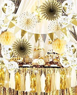 2020 Graduation Decorations Graduation Party Supplies 2020 Golden Party Decorations Polka Dot Paper Fans Gold Confetti Ballons for Gold Wedding/Bridal Shower Decorations/30th 40th 50th Birthday Party/Baby Shower Decorations