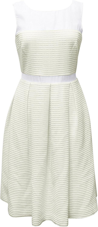 Badgley Mischka Ivory Cotton Blend Silk Pleated Sleeveless Crepe Dress 10