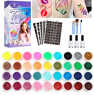 BEAU-PRO Nuevo kit de tatuajes de purpurina, 24 tubos de purpurina grandes y 160 plantillas. Tatuajes temporales para niño...