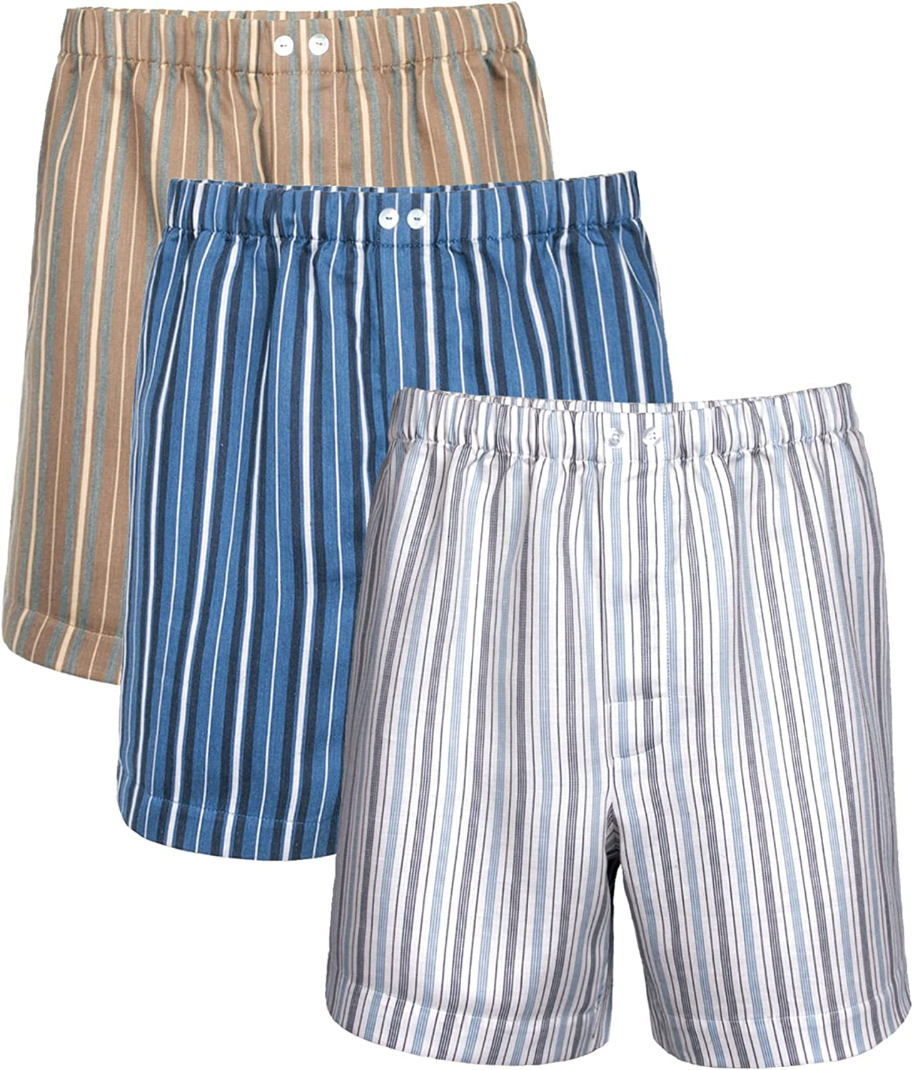 Men's Woven Boxer & Sleep Shorts Striped Sateen Linen Cotton 3-Pack - Crafted in Europe