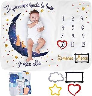 Manta Meses Bebé en Español   Modelo Unisex   Regalo De Fiesta De Nacimiento   Temática Luna   Suave y Gruesa   Manta para...