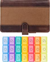 Weekly Pill Organizer - Never Forget to Take Your Medication Again - Travel Friendly 3 Times a Day AM PM Pill Box - Safe, Secure and Stylish - Unique Leather and Canvas Design with Generous Capacity