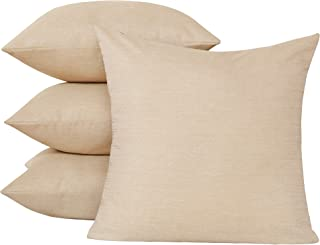Deconovo Blank Pillow Cases Faux Linen Pillow Covers with Invisible Zipper Throw Cushion Covers for Chair 20x20 Inch Beige 4 Pcs Case Only No Insert