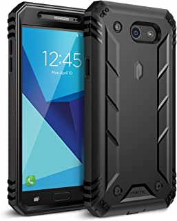 Poetic Galaxy J7 2017 Rugged Case, Full-Body Shockproof Protective Cover, Built-in-Screen Protector, Revolution, for Galaxy Halo/J7 Sky Pro/J7 Perx/J7 2017 (SM-J727), Not fit J7 2018 (SM-J737), Black