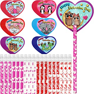 72 Pieces Valentines Pencils Toppers Cards Valentines Cards Set Valentine's Day Pencils Stationary Kit for Kids Giving Sch...