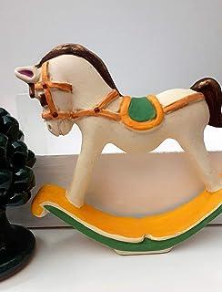 Cavalluccio a Dondolo - Cavallo a Dondolo Bomboniera - Ceramica Decorativa - Soprammobile - Personalizzabile con Nome - Le...