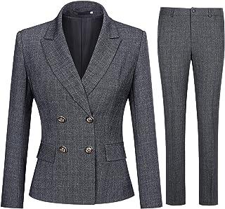 Women's 2 Piece Slim Fit Work Suit Set Two Button Blazer and Pants