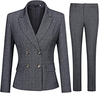 Women's 2 Piece Slim Fit Work Suit Set Two Button Blazer and Pants