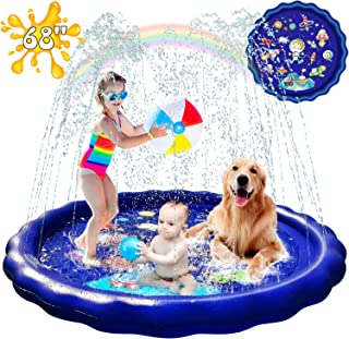 Splash Pad Sprinkler for Kids, 68'' Splash Pad for Big Kids Toddlers, Water Toys for Kids Outdoor Kids Sprinklers for Yard Kids Baby Pool Outdoor Swimming Pool for Kids 1-12 Year Old Boys Girls