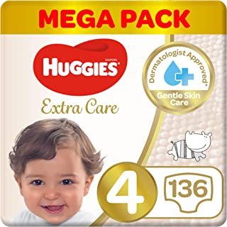 Huggies Extra Care Diapers Size 4, Mega Packs, 8 14 kg 136 Diapers, Size 4, 8 - 14 kg