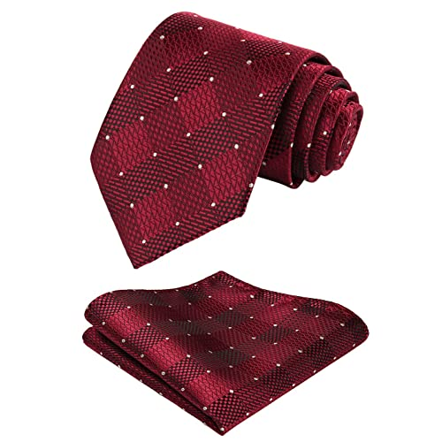 2b95092dede36 HISDERN Check Wedding Tie Handkerchief Men's Necktie & Pocket Square Set