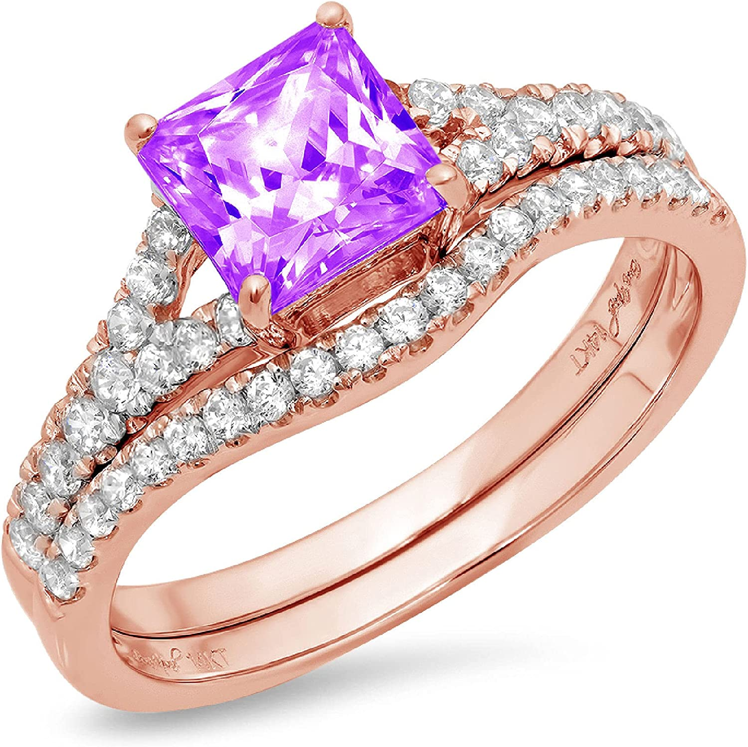 2.01ct Princess Cut Pave Solitaire Accent Natural Purple Amethyst Engagement Promise Statement Anniversary Bridal Wedding Ring Band set Curved Real Solid 14k Rose Gold