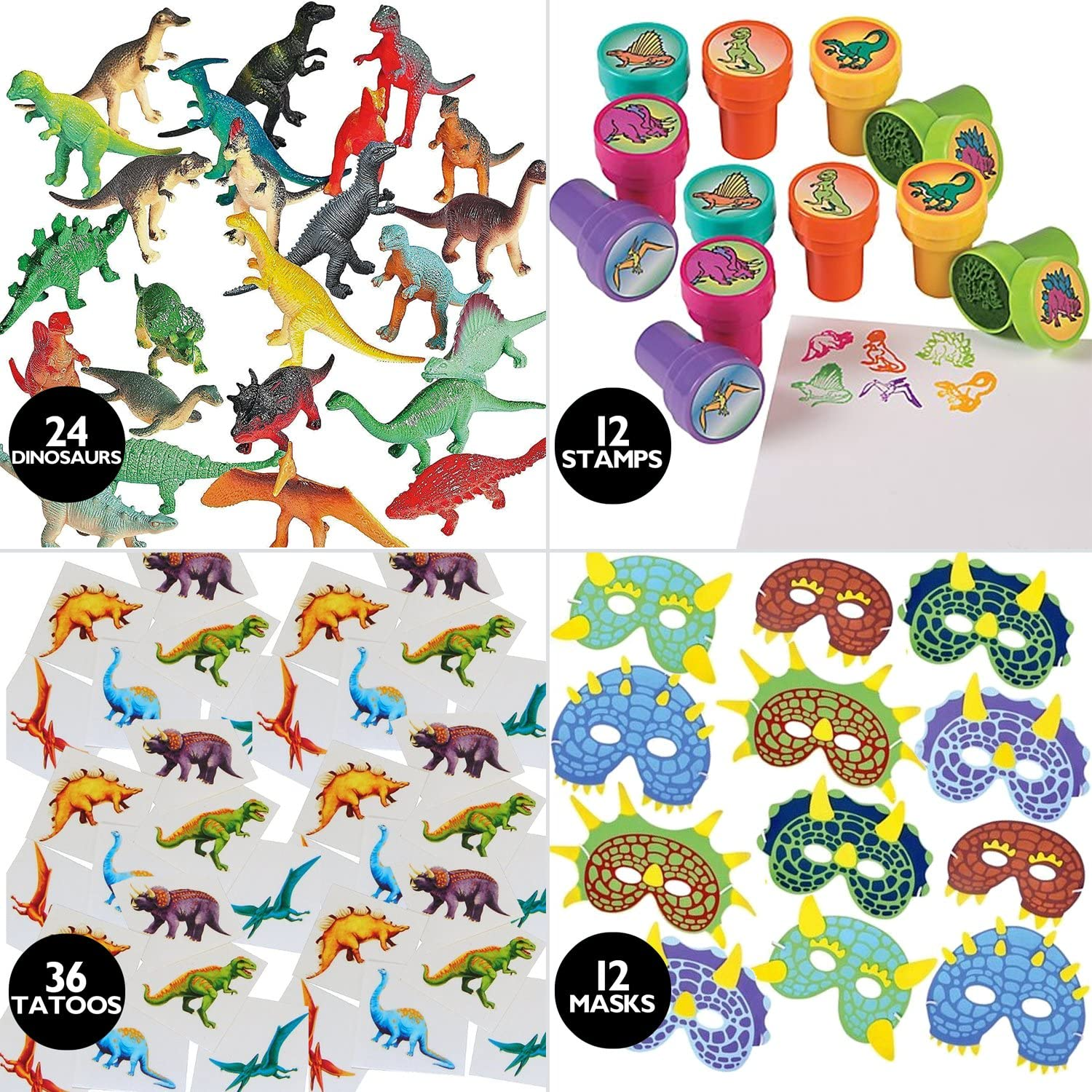 Holiday Decor Gifts 84 Piece Kids Dinosaur Toy Kit - Includes Mini Figures Masks Stamps and Sticker Tattoos (Great As Dinosaur Party Supplies & Dinosaur Party Favors)