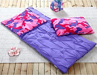 HowPlumb Sleeping Bag and Pillow Cover, Purple Pink Camo Indoor Outdoor Camping Youth Kids Girls