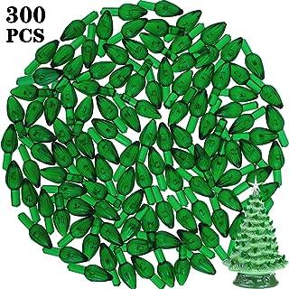 300 Pieces Plastic Ceramic Christmas Tree Bulbs Plastic Light Decorations for Christmas Tree Ornaments, Light Shape (Green)
