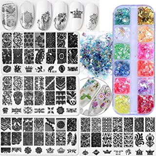 4pc Nail Stamping Plate Kit Floral Geometric Image Stamping Template Plate Iridescent Nail Art Glitters Flake Sequins Water Transfer Nail Decals Stickers for Nail Décor (Color Kit B)