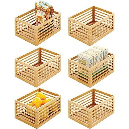 mDesign boite de rangement en bois de bambou – organiseur cuisine durable pour le plan de travail, l'étagère ou le placard – rangement nourriture polyvalent – lot de 6 – couleur nature
