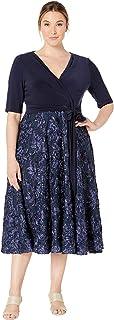 فستان طويل للنساء من Alex Evenings مقاس كبير مع تفاصيل وردية
