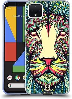 Head Case Designs Lion Aztec Animal Faces Soft Gel Case Compatible for Google Pixel 4 XL