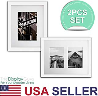 The Display Guys~ 2 Sets 8x10 Inch White Picture Frame Made of Solid Pine Wood and real Glass, Luxury Made Affordable, With White Core Mat Boards 2 for 5x7 Photo + 2 for 2-4x6 Photos