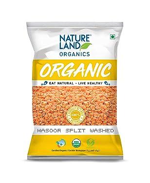 Natureland Organics Masoor Dal / Split Washed 500 Gm - Organic Healthy Pulses