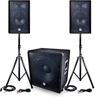 "Pack SONO BM Sonic BMS1812-2400W - 2 Luidsprekers 30cm / 12""+ Subwoofer 46cm / 18"" + Feet + Kabels"