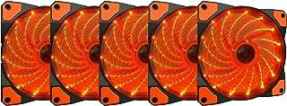 Apevia APEVIA AF512L-SOG 120mm Orange LED Ultra Silent Case Fan w/ 15 LEDs & Anti-Vibration Rubber Pads (5-pk)