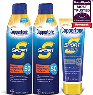 Sponsored Ad - Coppertone SPORT SPF 50 Sunscreen Spray + SPORT Face SPF 50 Mineral Based Sunscreen Lotion Multipack (5.5 O...