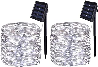 Best BOLWEO 2 Pack Solar String Lights Outdoor, Solar Fairy Lights, 10M / 33Ft 100LEDS 8 Modes, Waterproof Copper Wire Lighting for Indoor Wedding Patio Home Garden Decoration (Cool White) Reviews