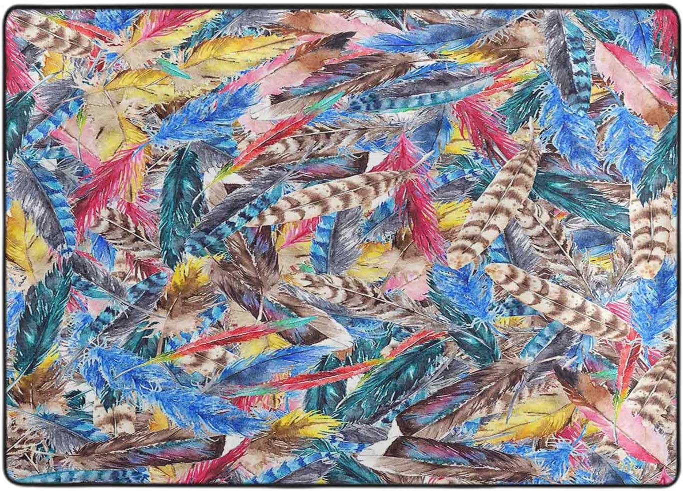 Max 50% OFF Area Rug Set Watercolor Colorful Seamless Pattern Backgr Feather Ranking TOP8