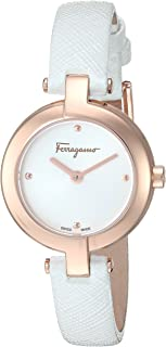 Women's Ferragamo Miniature Stainless Steel Swiss-Quartz Watch with Leather Calfskin Strap, White, 10 (Model: FAT030017)