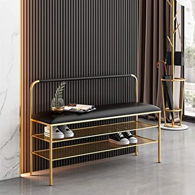Nordic Luxury Iron Shoe Rack Bench,3 Tier Storage Bench,Shoe Organizer or Entryway Bench for Entryway Hallway Shoe Storage (C