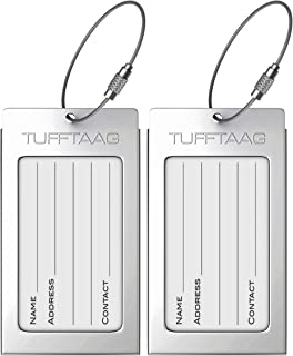 Luggage Tags Business Card Holder TUFFTAAG Travel ID Bag Tag in Many Color Options, White Silver, 2 Tags