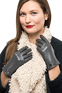 Nappa Leather Zipper Glove For Women, Touchscreen Cold Weather - Lined Gloves