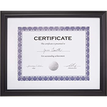 """AmazonBasics Certificate Document Frame With Mat, 8.5"""" x 11"""", Black, 3-Pack"""