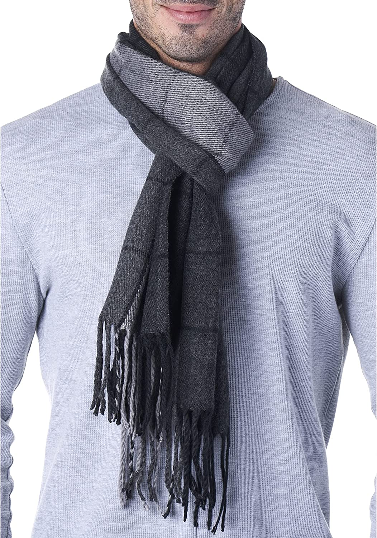 Hammer Anvil Mens Plaid Scarf Ultra Soft Winter Scarves Unisex Gray Plaid