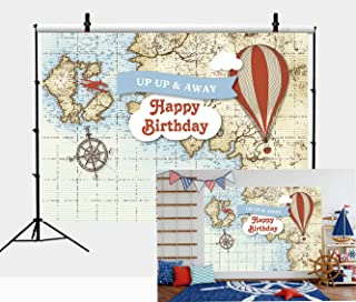 Botong 7x5ft Hot Air Balloon Adventure Awaits Theme Map Balloon Backdrop Birthday Party Airplane Vintage Nautical Compass Map Photography Background Boy Baby Shower Kids Carnival Party Banner
