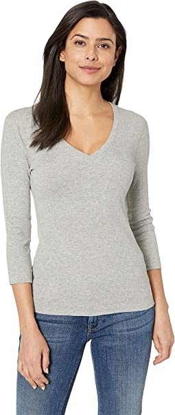 100% Cotton Heritage Knit 3/4 Sleeve Deep V-Neck