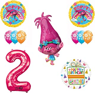 TROLLS 2nd Birthday Party Supplies and Poppy Balloons Bouquet Decoration