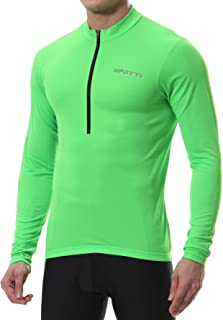 Men's Cycling Bike Jersey Long Sleeve with 3 Rear Pockets - Moisture Wicking, Breathable, Quick Dry Biking Shirt