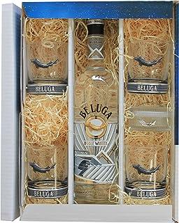 Vodka Beluga Noble 0,7l. Geschenkset mit 4 Gläser und Caviar Gift