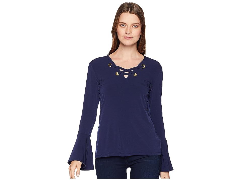22c27c6d920831 MICHAEL Michael Kors Bell Sleeve Lace-Up Top (True Navy) Women