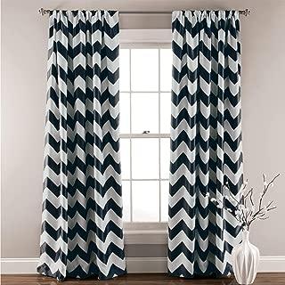 "Lush Decor, Black Chevron Blackout Curtains Window Panel Pair   Room Darkening, Energy Efficient Drapes 84"" x 52 Set 84"
