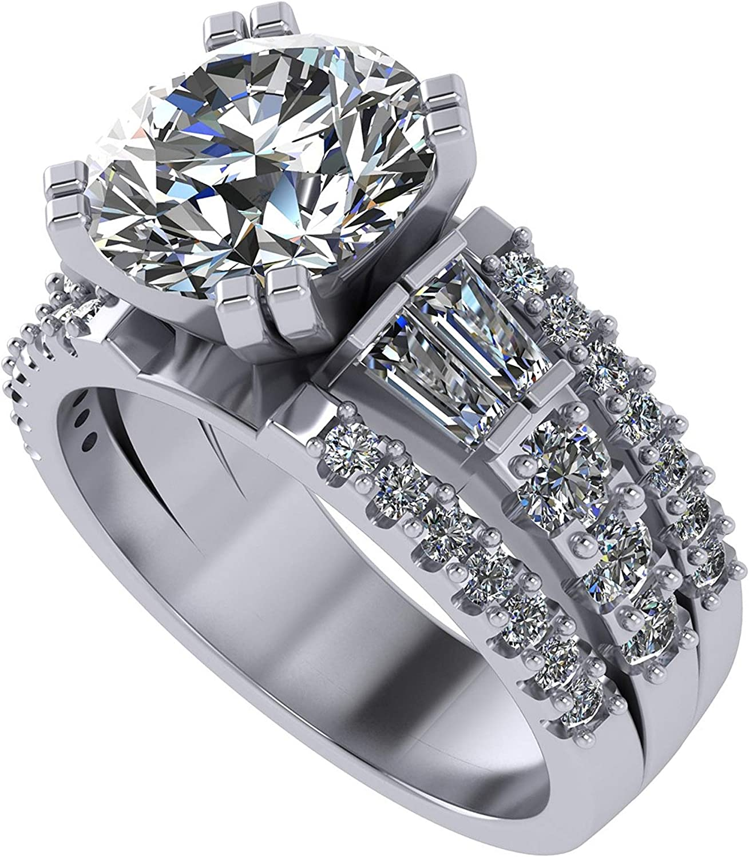 3.00 Carat Max 74% OFF Simulate Super intense SALE Diamond Ring-Round 5.0 Engagement Baguette