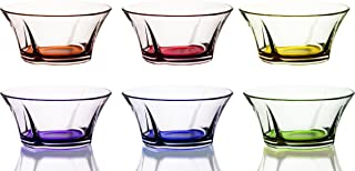 Mini Colored Glass Round Serving Prep Bowls, 10.5 Ounce - Set of 6