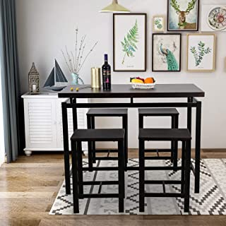 GLCHQ 5 Piece Pub Table Set, Dining Height Table Perfect for bar, Kitchen, Breakfast Nook, Dining Room, Living Room Casual Occasions (Black)