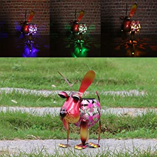 W-DIAN Red Dog Solar Garden Lights Metal Art Outdoor Patio Decorative Animal LED Lawn Metal Decorative RGB Multi Color Change